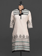 Mandarin Collar Quarter Sleeves Printed Cotton Kurta - SHREE