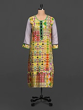 Quarter Sleeves Geometric Print Cotton Kurta - SHREE