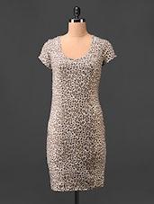 Round Neck Animal Printed Bodycon Dress - Hotberries
