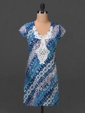 Lace Yoke Printed V-neck Rayon Tunic - MOTIF