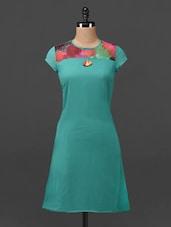 Printed Yoke Short Sleeves Georgette Dress - MOTIF