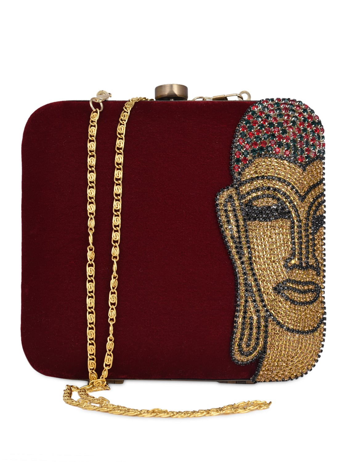 de5911d27a86 Buy Beaded Buddha Embellished Velvet Clutch Bag for Women from Uptown for  ₹1527 at 67% off