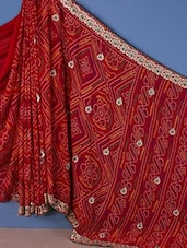 Red Embroidered Bandhani Print Saree - Shrimatiji Sarees
