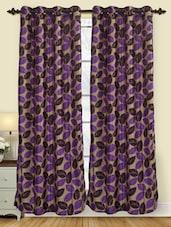 Leaf Printed Polyester Door Curtain (pack Of 2) - By