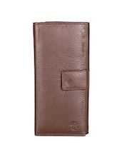 Brown Large Card Slot Leather Wallet - Kara