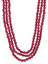 Pink Handcrafted Layered Silk Necklace - By