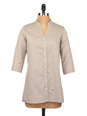 Grey Button-up Cotton Shirt - KIRA