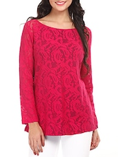 Fuchsia Cotton Lace Top - Mustard