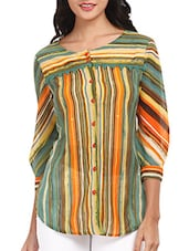 Multicolored Striped Polyester Top - Mustard