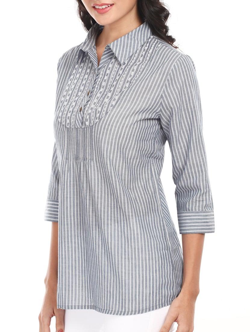 Grey Striped Shirt Collar Cotton Top - Mustard