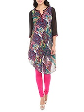 Multicolored Printed Asymmetric Hem Kurti - Mustard