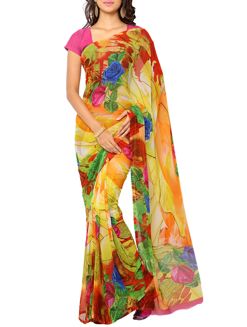 d7089fa0828 Buy Multicolored Floral Printed Semi Chiffon Saree With Blouse for Women  from Ligalz for ₹503 at 72% off