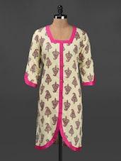 Ethnic Print Square Neck Cotton Kurta - Adyana