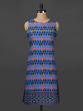 Geometric Print Sleeveless Cotton Kurta - Adyana