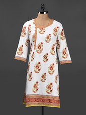 Floral Ethnic Print Quarter Sleeve Cotton Kurta - Adyana