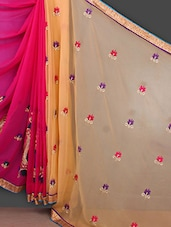 Embroidered Golden Border Half & Half Saree - Bunny Sarees