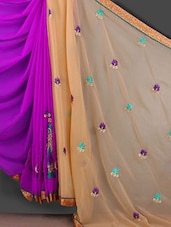 Floral Embroidered Gota Border Saree - Bunny Sarees