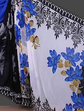Floral Printed Ethnic Border Blue Saree - Bunny Sarees