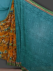 Printed Yellow & Blue Half & Half Saree - Bunny Sarees