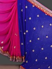 Embroidered Blue & Pink Half & Half Saree - Bunny Sarees
