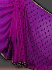 Polka Dot & Paisley Inspired Purple Saree - Bunny Sarees