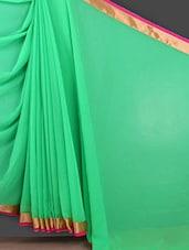 Solid Green Gota Border Saree - Bunny Sarees