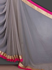 Gota Border Solid Grey Georgette Saree - Bunny Sarees