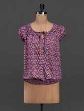 Printed Tie Up Neck Puff Sleeve Georgette Top - Meira