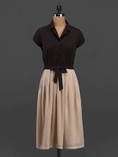 Shirt Collar Short Sleeve Midi Dress - Meira