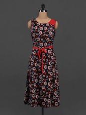 Floral Print Round Neck Sleeveless Crepe Dress - Meira