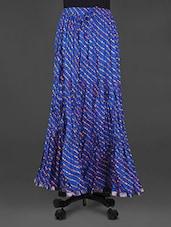 Lehariya Print Crinkled Blue Cotton Long Skirt - Indian Shoppe