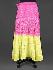 Jaipuri Bandhej Mirror Work Cotton Midi Skirt - Indian Shoppe