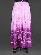Mirror Work Bandhej Print Cotton Midi Skirt - Indian Shoppe