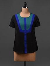Black Short Sleeves Polycrepe Top - L'elegantae