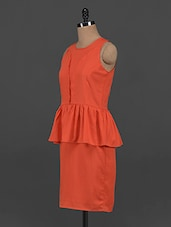 Orange Polyester Peplum Dress - Yepme
