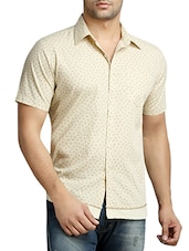 beige printed cotton casual shirt -  online shopping for casual shirts
