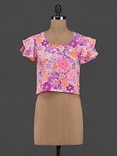 Floral Printed Polyester Crop Top - Yepme