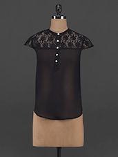 Black Lace Trimmed Sheer Georgette Top - Yepme