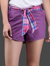 Plain Solid Cotton Shorts With Checked Belt - Yepme