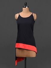 Navy Blue Red Bordered Asymmetric Crepe Top - Ridress