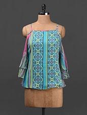 Printed Flared Camisole Neck Chiffon Top - Ridress