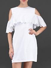 White Attached Schiffli Cotton Dress - Ridress