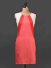 Color Block Sleeveless Crepe Shift Dress - Ridress
