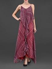 Printed Camisole Neck Chiffon Dress - Ridress