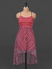 Printed Hi-low Camisole Neck Chiffon Dress - Ridress