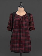 Red & Black Checked Round Neck Top - Sweet Lemon