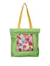 Floral Print Patch Tote Bag - Vogue Tree