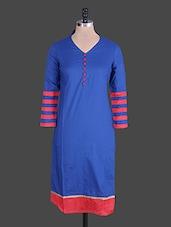 Royal Blue Cotton Kurti - Jaipurkurti.com