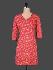 Floral Printed Red Cotton Kurta - Jaipurkurti.com