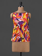 Graphic Printed Sleeveless Cotton Top - SHREE